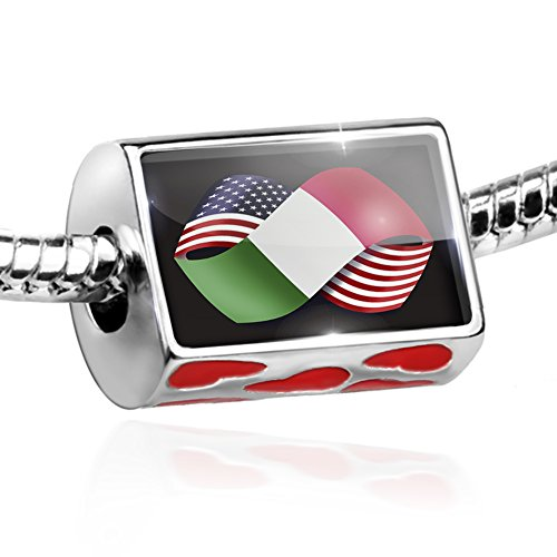 Bead Friendship Flags USA and Italian Charm with hearts by NEONBLOND - Friends 9mm Italian Charm