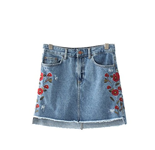 Gome-z Clothing Sweet Floral Embroidery Denim Skirts Vintage Pockets European Style Ladies Mini A-line Skirts BSQ571 as Picture L