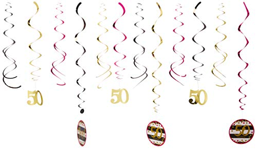 Amscan 671914 Party Supplies Pink & Gold Milestone 50 Swirl Decorations, One Size, Multi Color