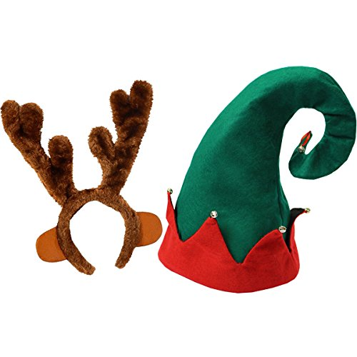 Felt Elf Hat with Bells - Reindeer Antlers Headband - by Funny Party Hats