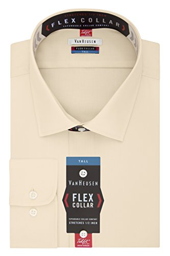 Van Heusen Men's FIT Dress Shirts Flex Collar Solid (Big and Tall), Canvas, 18.5