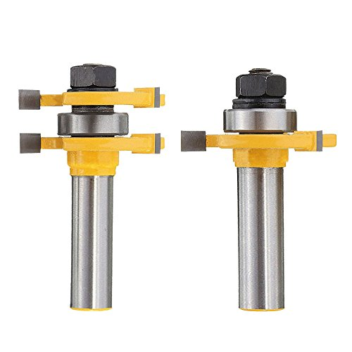 Three Panel Solid Wood - Bestgle 1/2-Inch Shank Matched Tongue and Groove Router Bit 3/4