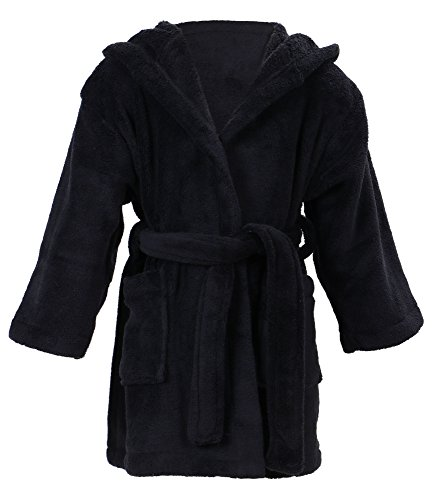 Simplicity Boy's Coral Velvet Hooded Bathrobe Robe with Hood & Pockets,Black,L