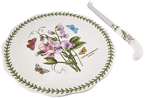 Portmeirion 601024 Botanic Garden Cheese Plate & Knife, 9/8, White