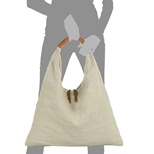 ITALIANA Bolso auténtica ITALY ARTEGIANI mujer Color hombro piel Asa VERA mujer Bolso PELLE mano Bolso piel natural 55x46x14 Made FIRENZE ROSA in cm Verde Shopper Shopper Bolso en Lino de n6WIqIS