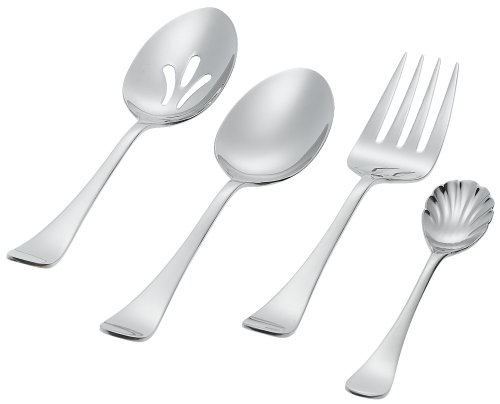 Ginkgo International Varberg 4-Piece Stainless Steel Flatware Stainless Steel Hostess Serving (Satin Cold Meat Fork)