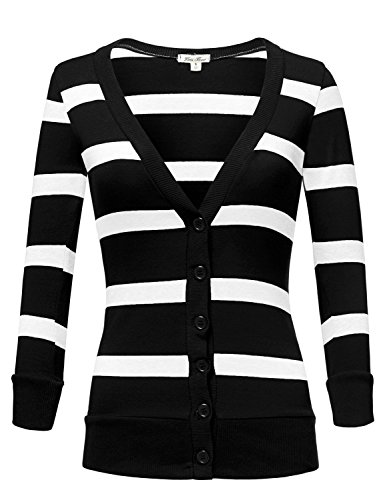 Deep V-neck 3/4 Sleeve Stripe Cardigans,004-Black_White,US S
