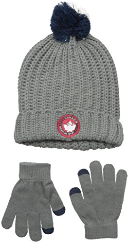 Canada Weather Gear Big Boys Three Color Pom Fold Over Beanie with Tech Touch Gloves, Grey, One Size