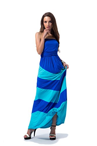 Charm Your Prince Women's Sleeveless Summer Chevron Empire Maxi Dress Aqua Blue and Turquoise Extra Large XL