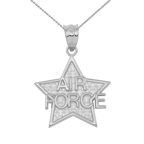 """925 Sterling Silver Air Force Military Star Charm Pendant Necklace, 18"""""""