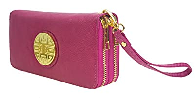 Canal Collection Double Zipper Around PVC Leather Wristlet Clutch Organizer Wallet with Emblem