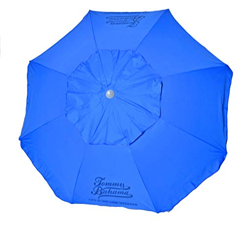 Tommy Bahama 7 ft Fiberglass Beach Umbrella with Integrated Anchor and Telescopic Pole and Tilt ()