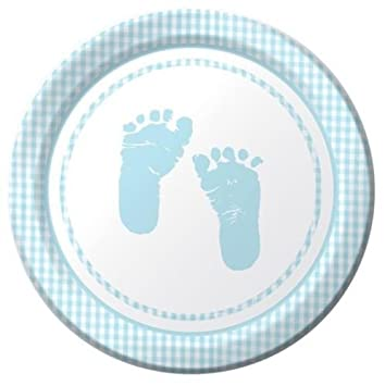 amazon com plaid baby boy feet baby shower party paper dinner