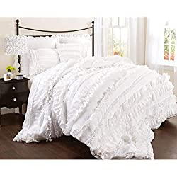 Lush Decor Belle 4 Piece Comforter Set, Queen, White