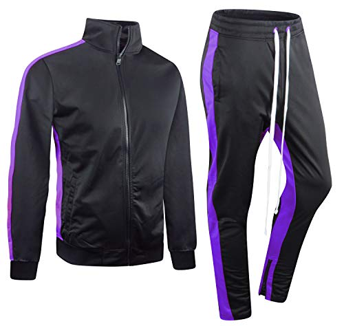 ALMAS APPAREL New Men Stripe Zip Pocket Track Pants Sweatsuit Men's Tracksuits (Small, - Purple Tracksuit