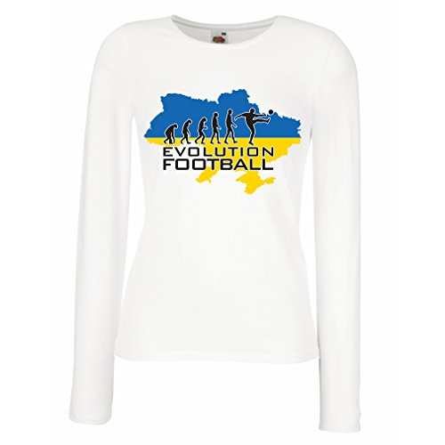 lepni.me T Shirt Women Evolution Football - Ukraine, Championship, World Cup Soccer Team Fan Shirt (XX-Large White Multi Color)