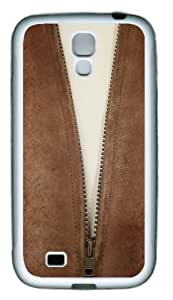 Leather Jacket Zipper TPU Rubber Soft Case Cover For Samsung Galaxy S4 SIV I9500 White