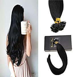 Sunny 14inch Flat Tip Jet Black Fusion Hair Extensions Color #1 Remy Straight Flat Tip Fusion Human Hair Extentions 1g…