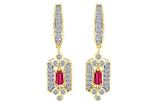 0.75 Carat Baguette Simulated Ruby & Round White Natural Diamond Drop Pendant Necklace 14k Solid Yellow Gold