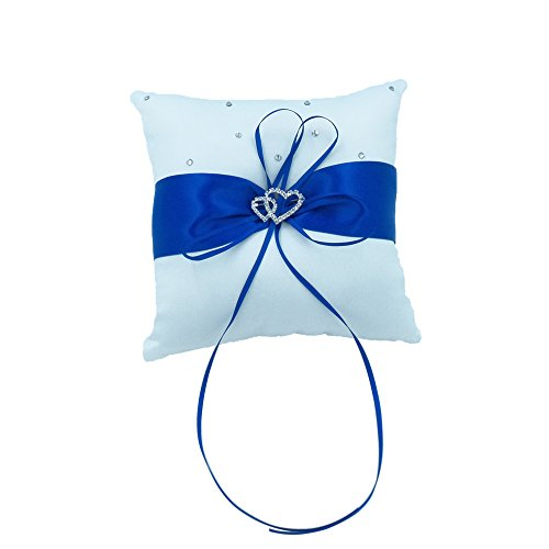 Abbie Home Royal Blue Wedding Ring Pillow Ribbon Bowknot Double Heart Rhinestone Décor Party Favor (Royal Blue Pillow) by Abbie Home
