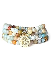 COAI Tree of Life Jewelry Multi-Color Amazonite Stone 108 Mala Beads Wrap Bracelet Necklace