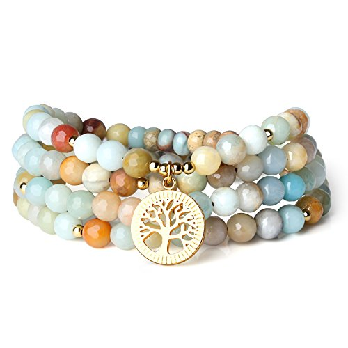 Amazonite Bracelet - COAI Tree of Life Amazonite Stone 108 Mala Beads Wrap Bracelet Necklace