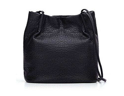 Yiji Multi Design Pockets Texture Women's Shoulder Bag Black around 5rtqr