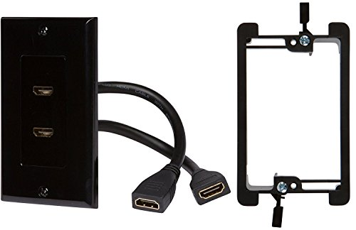 (Buyer's Point HDMI Wall Plate[UL Listed] (2 Port) Insert with 6-Inch Built-in Flexible Hi-Speed HDMI Cable with Ethernet- Decora Style 2-Piece Pigtail Jack/Plug for Dual Outlet Port(Black Kit 2 Port))
