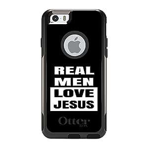 "CUSTOM Black OtterBox Commuter Series Case for Apple iPhone 6 PLUS (5.5"" Model) - Black Real Men Love Jesus"