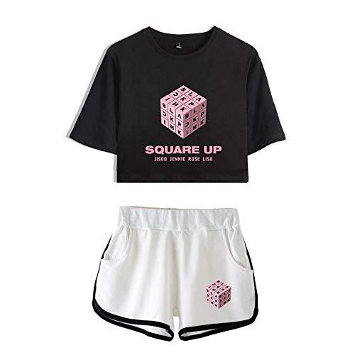 Corta Stampa shirt Gogofuture T Manica Black1 Pantaloncini Set Bluse E Maglietta Lettera Donna Blackpink Esposti Navel wttXAqx7HS