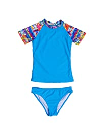 Crazycatz@ Kids Girl Two Pieces Short Sleeve Swimsuit Rash Guard UV Protection