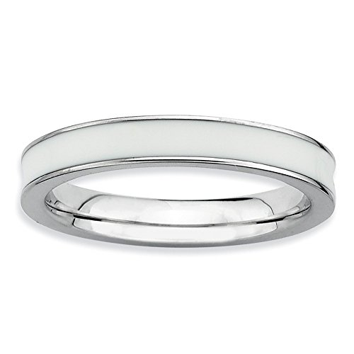 Peaceful Joy 925 Sterling Silver Rhodium Plated Stackable White Enamel Ring