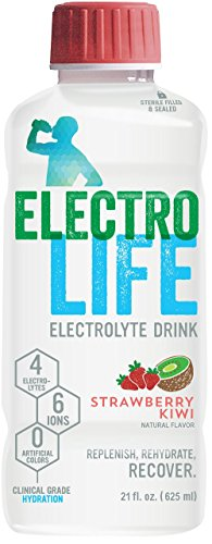 ElectroLife Clinical Grade Electrolyte Beverage for Rapid Hydration, Strawberry-Kiwi, 21-Ounce Bottles, Pack of 12