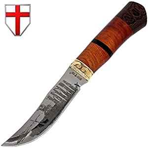 Grand Way Hunting Knife - Decorative Fixed Blade Knife - Classic Stainless Steel Clip-point Hunting Knife with Wood Handle FB 1020