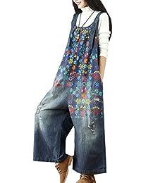 Flygo Women's Loose Baggy Cotton Wide Leg Jumpsuits Rompers Overalls Harem Pants