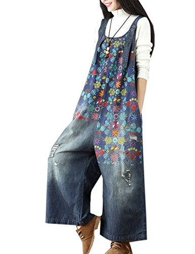 (Flygo Women's Loose Baggy Cotton Wide Leg Jumpsuit Rompers Overalls Harem Pants (One Size, Style 05 Dark Blue))