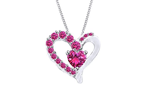 Jewel Zone US 1.92 Ct Heart & Round Cut Simulated Pink Sapphire Heart Pendant Necklace 925 Sterling Silver ()