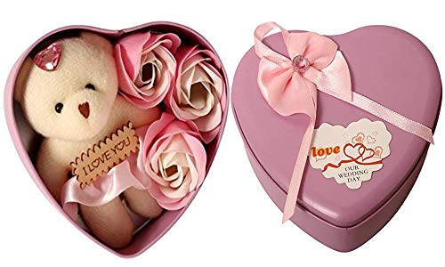 KITGOHUT Heart Shape Box with 3 Flower and 08 cm Cute Teddy Combo Artificial Flower, Soft Toy Gift Set