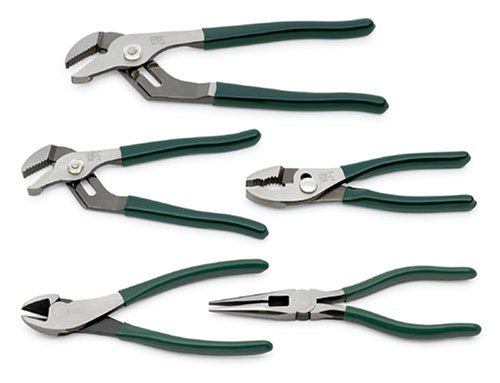 SK 17835 Plier Set– 5 Piece Joint Tongs Combination, Adjustable Cutters. General Purpose Power Hand Tool