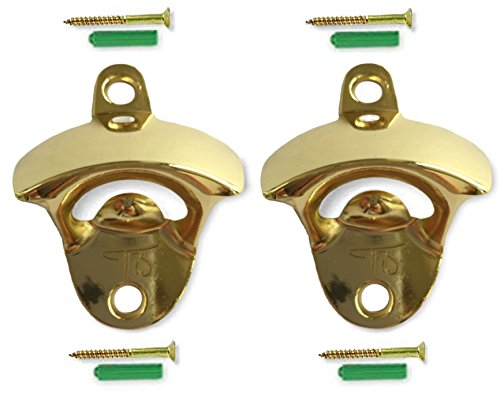 Gold Wall Mount Bottle Opener (2 Pack) - Includes Mounting Screws - Very Solid - Gold Nickel Plated - Anti-Rust Protection - Retail Packaging - Great Gift Choice (Opener Bottle Mounted Wall Gold)