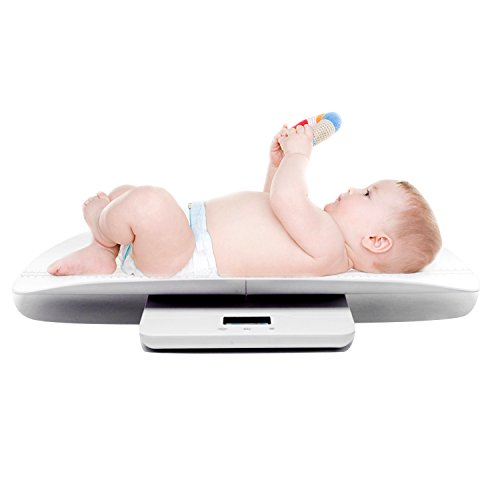 Multi-Function Digital Baby Scale Measure Infant / Baby / Adult Weight Accurately, Measure Range at 0~220 lb with Precision ± 10g, Blue Backlight, Ruler on the Tray Measure Height within 60 cm by iSnow-Med