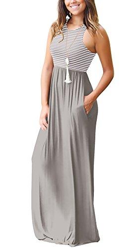 6916d52a01b ... Damen Crew Ärmellos Maxikleid Neck Freizeitkleide Young Fashion  Sommerkleider Sundress Partykleider Strandkleid Grau Elegant Gestreift Lang  ...