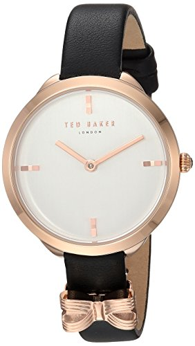 Ted Baker Women's 'Elana' Quartz Stainless Steel and Leather Casual Watch, Color Black (Model: TE15198002)