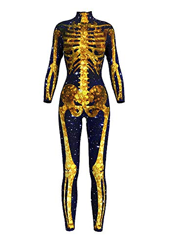 Honeystore Women's Halloween Skeleton Catsuit Costume 3D Stretch Skinny Bodysuit bds-97003