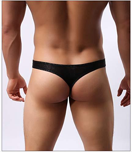 Black YeahDel Lace Slim Low Waist t Pants Mens Briefs g-String,l