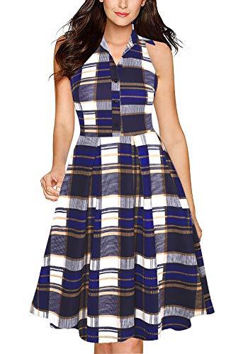 (Fantaist Office Dress,Sleeveless Shirt Collar Summer Casual Aline Work Dresses with Pockets (M, FT651-Blue Plaid))