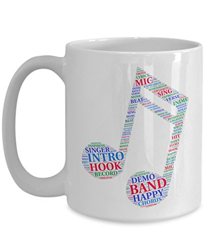 Singer Mug-Musician Coffee Cup-Songwriter Gift-Eighth Notes Musical Design-Indie Artist ()