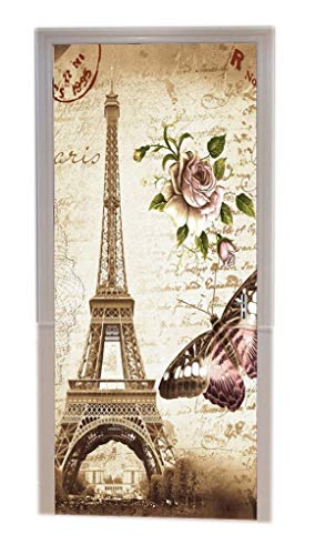 A.Monamour Brown Mottled Backgrounds Vintage Floral Butterfly Paris Eiffel Tower Postcard with Stamp Print Vinyl Room Door Decals Wallpaper Wall Murals Removable Door Stickers Posters DIY Art Decors