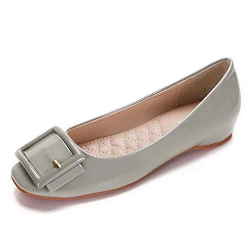 AalarDom Mujer Mini Tacón Puntera Cuadrada Material Suave Sólido De salón Gris-Hebilla