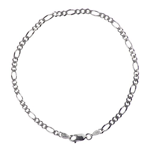 925 Sterling Silver 3.00 mm Beveled Dia-Cut Figaro Bracelet Chain with Lobster Clasp-Rhodium Finish ()